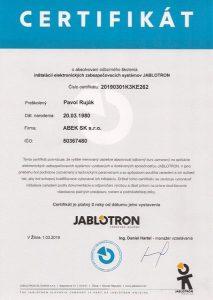 Certifikat Jablotron