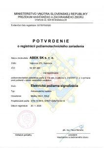 Potvrdenie oregistrácii PTZ